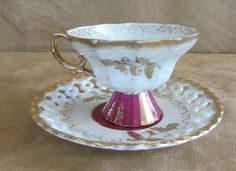 Royal Sealy footed vintage china tea cup and saucer porcelain coffee gold