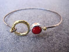 Coral Sterling Silver and  carats Gold Bracelet