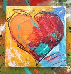 "Heart Painting 6""x6"" #artideas"