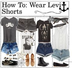 """""""How To: Wear Levi Shorts"""" by the-hipster-tipsters ❤ liked on Polyvore"""