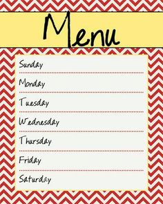 Kitchen Menu Board Printable Red and Yellow by MyPoshDesigns, $6.00