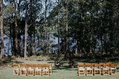 Outdoor wedding ceremony | Wooden folding chairs  | Bawley Bush Retreat |Mitch Pohl Photography | South Coast Party Hire