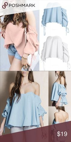 Flirty Off The Shoulder Baby Blue Top Drawstring Gorgeous and flirty off the shoulder top. Add this to your wardrobe and enjoy it as a carefree essential with an edge.   Size: US 8-10  Product details: Poly blend Hand wash cold Sleeve tie detail  Tags: Trendy, 2017, trend, bohemian, boho, love, revolve, lemons, tops, top, blouse, sexy, date, wear Tops Blouses