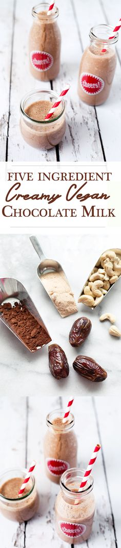Creamy Vegan Chocolate Milk - made with 5 ingredients and in under 5 minutes. #Healthy #Delicious #Vegan #DairyFree #Chocolate #Simple