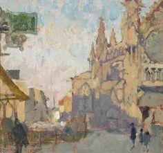 Dieppe St. Jacques  Bernard Dunstan  oil on board  9 x 9½ in. (22.8 x 24.2 cm.)