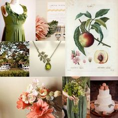 sage & peach beauty. Love the bridesmaid dress style.