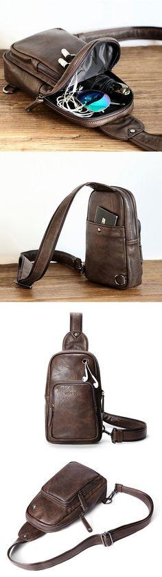 ec2bde88d3bd Retro Causal Multi-functional Chest Bag Sling Bag Crossbody Bag For Men  Cheap Crossbody Bags