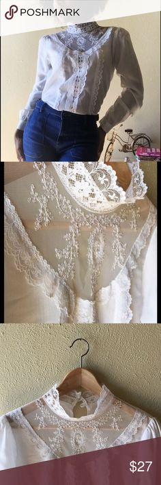 VINTAGE Victorian Lace Blouse Feminine, and classic. What I love most about this style is that it can be worn with denim, leather, or a flirty fit and flare skirt. In perfect condition with original buttons and lace in tact. Vintage Tops Blouses