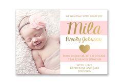 baby girl birth announcement digital file delilah i design you