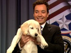 Jimmy Fallon's puppy, Gary, casts her vote