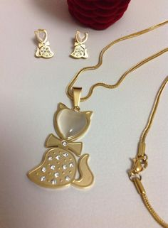 set en acero gold 316 diseño gatitos aretes de poste cadena encaje.