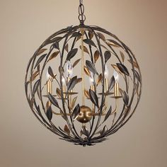 From the Crystorama collection, this large chandelier design features an orb-like round shape with two-tone leaf and vine motif.