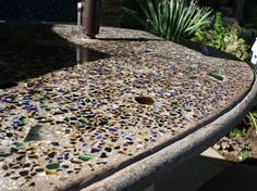 New Kitchen Countertops Recycled Concrete Counter Ideas Making Concrete Countertops, Outdoor Kitchen Countertops, Outdoor Kitchen Bars, Glass Countertops, Concrete Table, Concrete Furniture, Concrete Projects, Countertop Materials, Kitchen Furniture