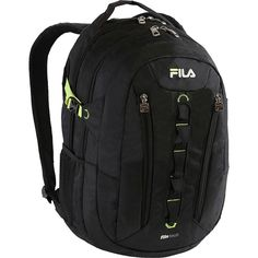 Fila Vertex Tablet and Laptop Backpack - Black Everyday Backpack NEW With a daisy chain front, two vertical zippered pockets, and two large main compa... #backpack #shoes #accessories #clothing #unisex #accs #backpacks #bags #everyday #vertex #tablet #laptop #colors #fila