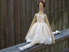 Fabric doll white ballerina doll princess cloth doll cute stuffed doll art doll brunette softie plush doll toy - gift for girls