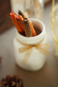 Ribbon wrapped sharpies in a painted mason jar for our guestbook. our fall themed wedding. Wedding Themes, Wedding Ideas, Ribbon Wrap, Sharpies, Painted Mason Jars, Guestbook, Autumn Theme, Diy Projects, Fall