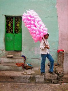 A wandering pink candy floss seller near Raikhad, India. We Are The World, People Of The World, Candy Floss, Colorful Candy, Incredible India, Cotton Candy, Color Inspiration, Pretty In Pink, Pink And Green