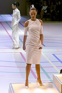 Givenchy   Spring 2000 Ready-to-Wear   09 White embellished cut out shoulder midi dress