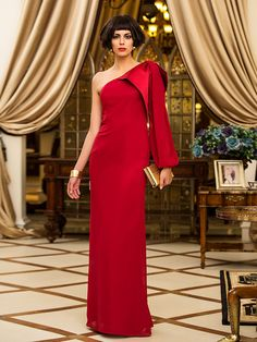 Sheath/Column One Shoulder Floor-length Chiffon Evening Dress (742531) - USD $109.99