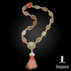 Sautoir Sunrise in Mandalay: jade, pearls, corals, diamonds, yellow gold and silver