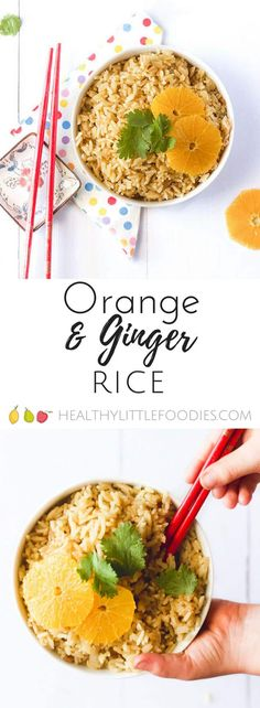 Orange Ginger Rice is delicious & kid friendly. The rice is cooked in stock, ginger, cardamom & orange juice producing a deliciously savoury, sweet dish Healthy Meals For Kids, Meals For One, Kids Meals, Healthy Snacks, Veggie Side Dishes, Rice Dishes, Veggie Meals, Rice Bowls, Vegetarian Recipes