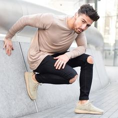 Long Sleeve Taupe, Distressed-at-the-knee Denim & Beige Yeezy's.
