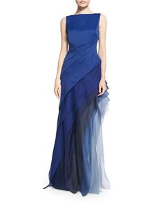TB04P Halston Heritage Sleeveless Ombre Tiered Gown