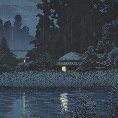 Night Rain at Omiya, 1930 by Kawase Hasui (1883 - 1957)