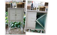 Old radio cabinet upcycled for wine storage.