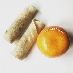 @SieteFoods cassava flour tortilla with sunflower butter and an orange