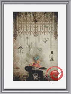Steampunk Top Hat Cross Stitch Printable Needlework Pattern - DIY Crossstitch Chart, Relaxing Hobby, Instant Download PDF Design