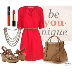 Red shirt dress, brown sling back wedges, brown bag, red lipstick, cute summer outfit idea