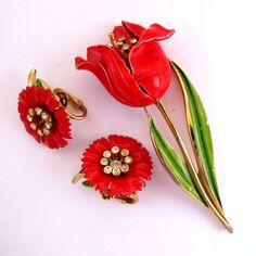 Crown Trifari Red Enamel Tulip Flower Pin and Earrings - Advertisement Piece.  SOLD