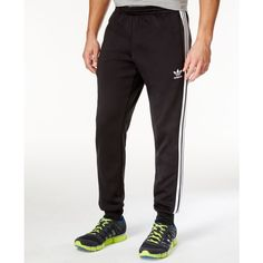 adidas Originals Men's Superstar Training Pants ($65) ❤ liked on Polyvore featuring men's fashion, men's clothing, men's activewear, men's activewear pants, black and mens activewear pants