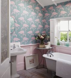 Flamingos Wallpaper by Sanderson | Jane Clayton