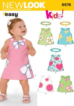 Babies Dress and Headband Sewing Pattern 6576 New Look