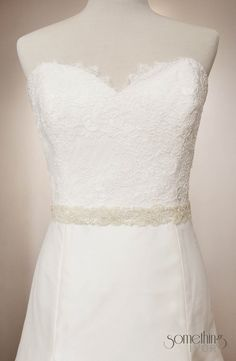 ALICE sash - Silver/Clear Beaded Bridal Wedding Sash. $68.00, via Etsy.