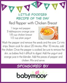 We love these delicious recipes from our friends over at @babymoov   http://www.cookingbabyfood.com/recipe/red-pepper-with-chicken-breast/