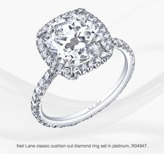 Neil Lane classic cushion cut diamond ring set in platinum, R04947 2 Carat diamond