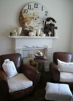 Interesting way to use fabric to change up the look of your leather chairs
