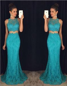 2017 Custom Made Charming Two Pieces Prom Dress,Lace
