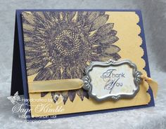 Here's a simple Thank You Card, made with the Sunflower background stamp, and the new Designer Frames from Stampin' Up!  The colors are a striking combination of Elegant Eggplant and So Saffron. www.stampingmadly.com