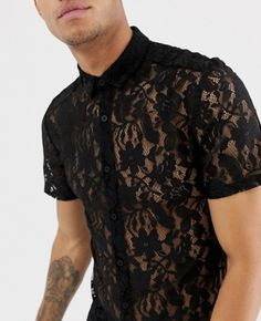 Shop the latest ASOS DESIGN skinny fit lace shirt in black trends with ASOS! Gay Outfit, Pride Outfit, Mens Hottest Fashion, Boy Fashion, Mens Fashion, Sexy Shirts, Fantasy Wedding, Androgyny, Skinny Fit