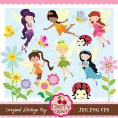 Cute Fairies digital clipart set for -Personal and Commercial Use-paper crafts,card making,scrapbooking,web design on Etsy, $4.50