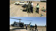 پرواز بالگرد برای نجات حادثه واژگونی زانتیا   عکس