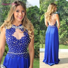 Aliexpress.com   Buy Robe de soiree Cheap Royal Blue Party Evening Dresses  Lace Pearls Abendkleider Arabic Women Floor Length Prom Gown Chiffon E5537  from ... 1b01c8316