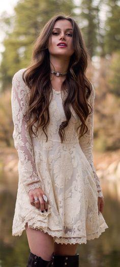 Cream Lace Dress Boho Style