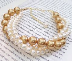 Gold & Ivory 3 Strand Twisted Pearl Bracelet, Wedding Bridal Jewelry