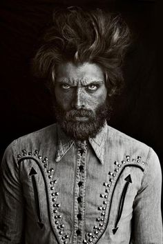 ♂ Black and white man portrait face with Freckles Jerome wears Shirt- Just Cavalli