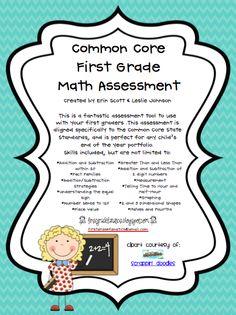 Common Core First Grade Math Assessment